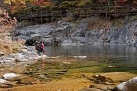 backpack, maple, valley, baemsagol, baemsagol valley, Sannae_myeon, Namwon_si, Jeollabuk_do, korea, south korea, Oriental, Eastern people, asian