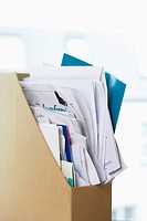 Box file crammed with papers