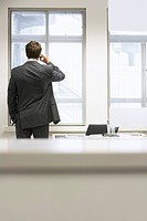 Businessman standing by desk in office Talking on Cell Phone