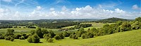 Panoramic views towards the South Downs from Newlands Corner, Surrey, England, UK
