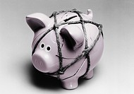 Broken piggy bank reassembled with twine (thumbnail)