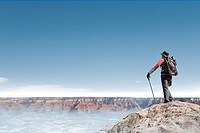 computer_genertated, composition, compose, computer_graphic, Grand Canyon, Arizona, United States, America, backpack, Oriental, Eastern people, asian