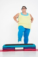 Plus_Size Woman on Exercise Steps
