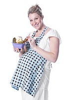 Pregnant woman with ice cream and pickles