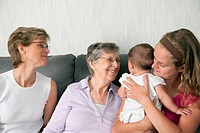 Four generations of females spending time together