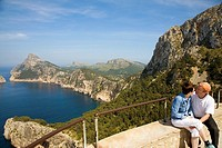 Mal Pas viewpoint in Formentor cape.  Serra de Tramuntana (World Heritage Site by UNESCO). Mallorca. Balearic Island. Spain.