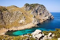 Murta creek (Cala Murta) in Formentor Cape. Serra de Tramuntana (World Heritage Site by UNESCO). Mallorca. Balearic Island. Spain.