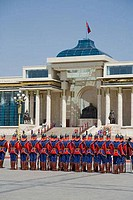 Army soldiers in front of a government building, Parliament House, Sukhbaatar Square, Ulan Bator, Mongolia