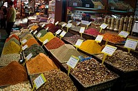 Spices at a market stall, Grand Bazaar, Istanbul, Turkey