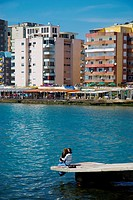 Lovers on the pier in Durres Albania Europe