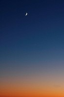 Crescent moon in the evening, copy space, Yamanashi prefecture, Japan