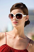 Fashion model wearing sunglasses