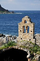 Ruined church on the coast at Limeni, in the Mani peninsula Messinia, Southern Peloponnese, Greece