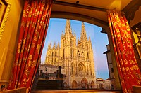 Cathedral from Meson del Cid hotel, Burgos. Castilla-Leon, Spain