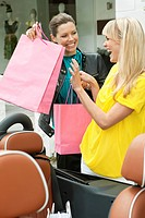 Two women having fun near a car after shopping (thumbnail)