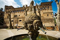 Palace of the kings of Navarre and Chorros Fountain. Estella. Pilgrims Way to Santiago. Navarre. Spain.