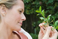 Close_up of a woman examining flowers