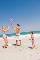 Family playing with a beach ball