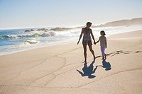 Woman walking on the beach with her daughter