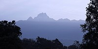 Mount Kenya, Kenya, East Africa, Silhouette of mountain peak