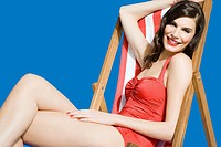 Woman sitting in deckchair