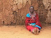 Man in Maasai village, Kenya, Africa