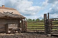 Pig pen at Slemko Barn, Ukrainian Cultural Heritage Village, Edmonton, Alberta, Canada