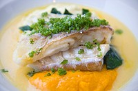 Cod with pureed vegetables