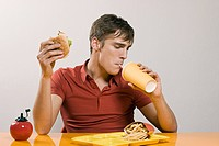 Man having burger meal