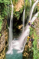 Canyoning in Añisclo gorge, National Park of Ordesa and Monte Perdido, Huesca, Spain / Descenso de barrancos, Cañon de Añisclo, Parque Nacional de Ord...