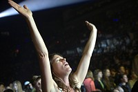 Ecstatic female fan at concert