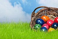 Ostereier im Korb mit Himmel / Easter eggs in a basket on the grassland and the heaven in the background
