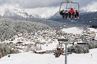 Chairlift on a ski slope, Seefeld ski resort, the Tyrol, Austria, Europe