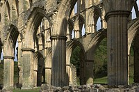 Interior, 13th century Rievaulx Abbey, near Helmsley, North Yorkshire, England, United Kingdom, Europe