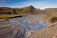 Glacial river flowing from Solheimajokull Myrdalsjokull glacier, near Vik, South Iceland, Iceland, Polar Regions