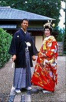 bride and groom at a traditional wedding in japan