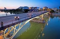Puente de Isabel II o de Triana en el río Guadalquivir  Seville, Andalusia, Spain