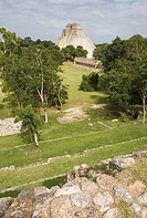 Pyramid of the Magician in Pre-Columbian mayan ruins of Uxmal. Yucatan. Mexico.