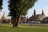 River Elbe, Hofkirche, Castle, and Frauenkirche Church of our Lady, Dresden, Saxony, Germany, Europe