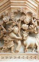Carving of a peasant, Batalha monastery, UNESCO World Heritage Site, Batalha, Estremadura, Portugal, Europe