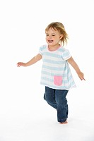Young Girl Running In WhiteStudio