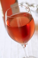 Glass of chilled rose wine