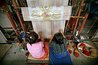 Girls weaving in Tibet  Tibet is known as the Roof of the World, with most of the area above 3,000 feet  Under firm Chinese control since 1950, Tibeta...