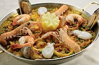 Paella with langustines