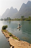 Fisherman on Bamboo Raft, Li River, Yangshuo, Guilin, Guangxi, China
