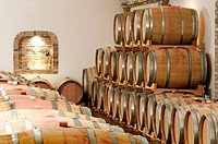 Barrels of wine in a cellar (thumbnail)