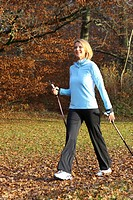 woman doing nordic walking