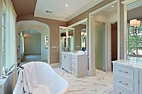 Master bath in new construction home with standalone tub