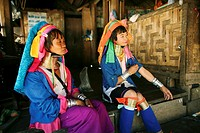 Two Longneck women in their village  Approximately 300 Burmese refugees in Thailand are members of the indigenous group known as the Longnecks  The la...