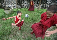 Young monks play football  Buddhist monks are living in monastries in and around Kathmandu  Many are illegal refugees from Tibet but live quietly with...